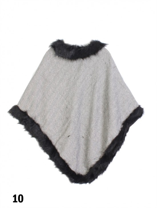 Simple Plaid Poncho W/ Fur Collar & Edge