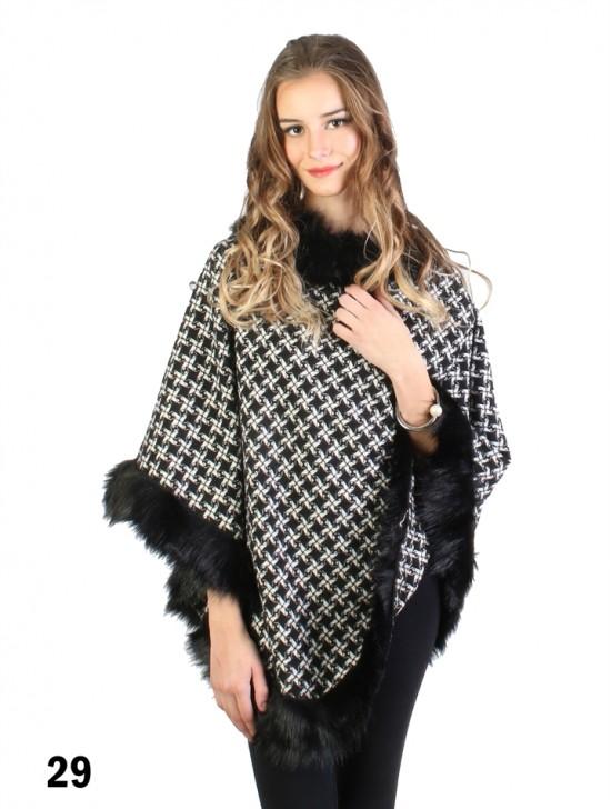 Crossed Grid Print Poncho W/ Fur Collar & Edge