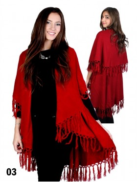 Solid Color Cape W/ Fringes