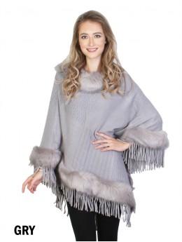 Cozy Poncho W/Fur Trim and Tassels