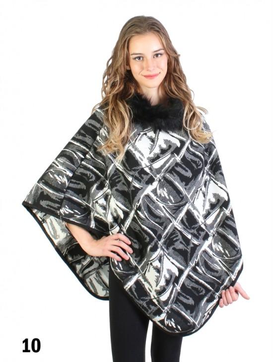 Black & White Abstract Plaid Poncho W/ Fur Collar