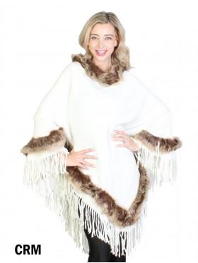 Poncho W/ Brown Fur Trim and Tassels