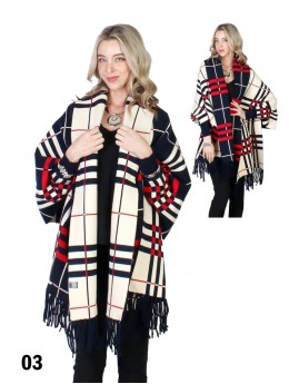 Reversible Plaid Open-front Cape