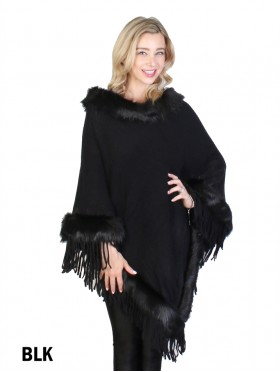 Cozy Poncho W/Fur Trim and Tassels