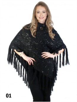 Knitted Poncho W/ Buttons and Sequins