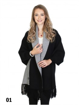 Cashmere Open-Front Cape W/Sleeves