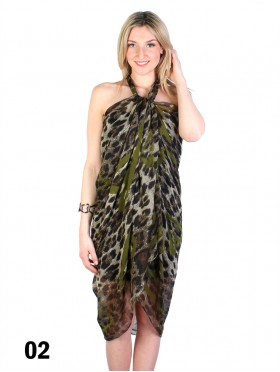 LINEN SCARF DRESS, HEART ON LEOPARD